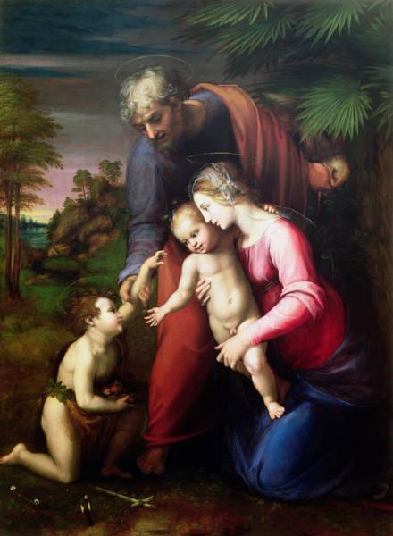 Renaissance Photograph - Holy Family With John The Baptist, 151314 by Sanzio of Urbino Raphael