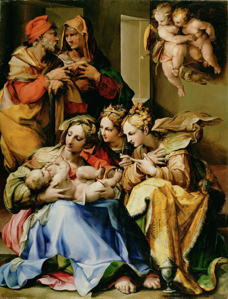 Saint Anne Painting - Holy Family With Saints Anne, Catherine Of Alexandria by Litz Collection