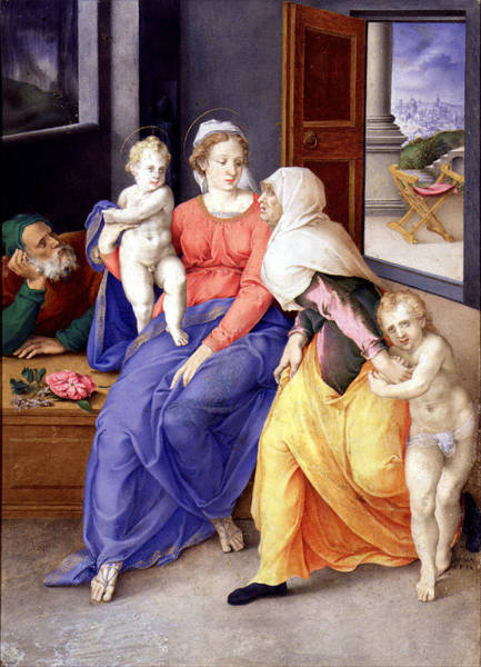 Giulio Painting - Holy Family With Santa Isabel And San Juanito by Giulio Clovio