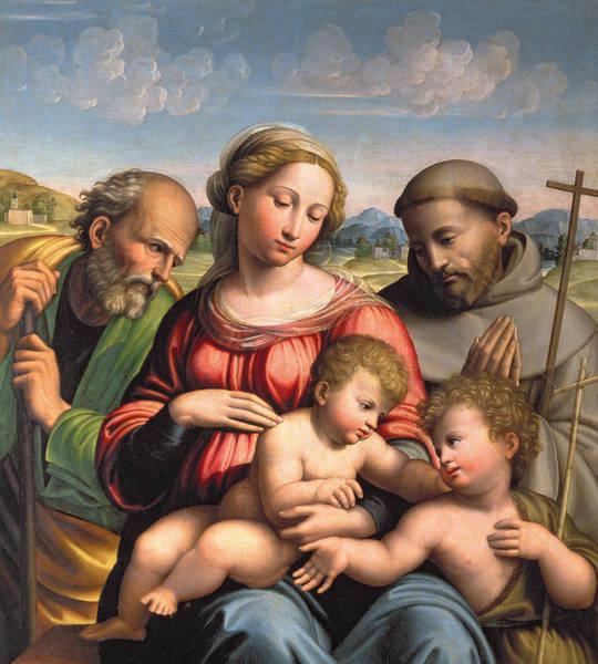 Assisi Painting - Holy Family With The Infant St. John The Baptist And St. Francis by Innocenzo da Imola