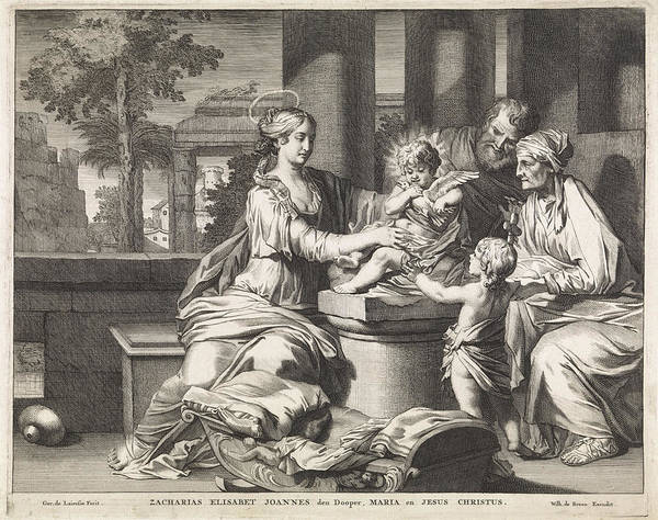 Holy Ghost Drawing - Holy Family With Zachariah, Elizabeth And John The Baptist by Matthijs Pool And Willem De Broen