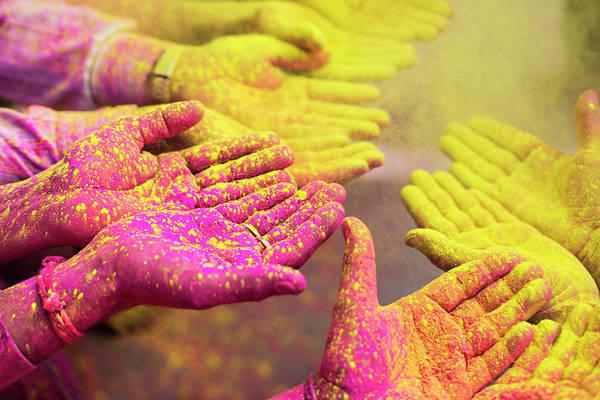 Holi Photograph - Holy Hands by Xavierarnau