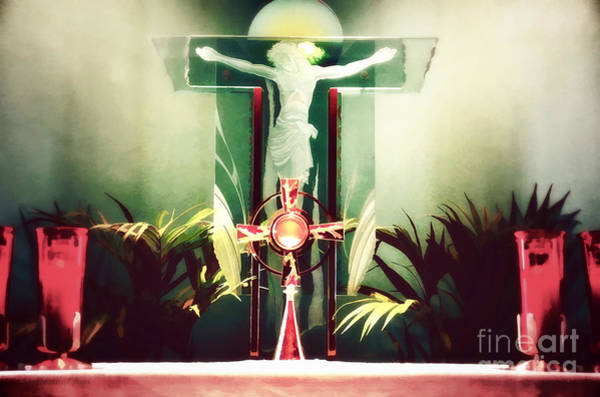 Photograph - Adoration With Red Candles - Digital Painting by Sharon Tate Soberon