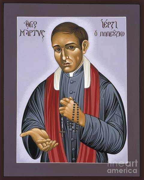 Painting - Holy New Martyr Father Jerzy Popieluszko 030 by William Hart McNichols