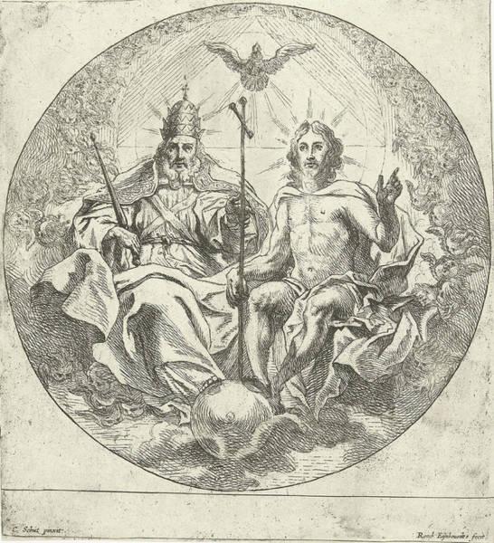 Holy Ghost Drawing - Holy Trinity, Print Maker Remoldus Eynhoudts by Remoldus Eynhoudts And Cornelis Schut I