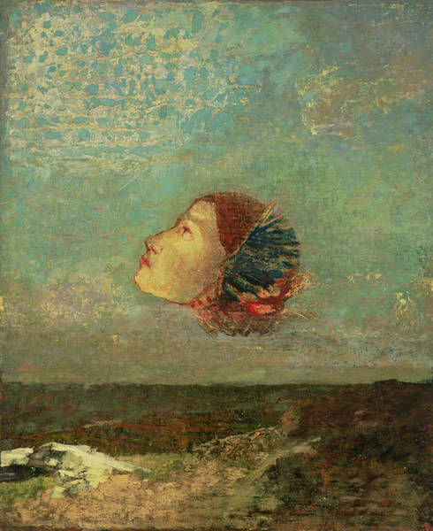 Wall Art - Photograph - Homage To Goya, C.1895 Oil On Card Mounted On Canvas by Odilon Redon