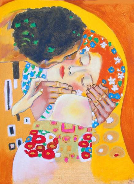 Susi Wall Art - Painting - Homage To Master Klimt The Kiss by Susi Franco