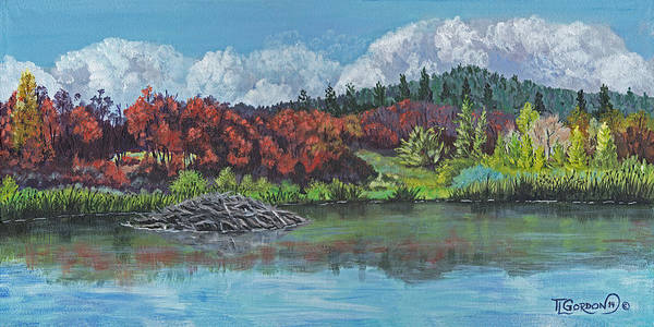 Beaver Pond Wall Art - Painting - Home For Beavers by Timithy L Gordon