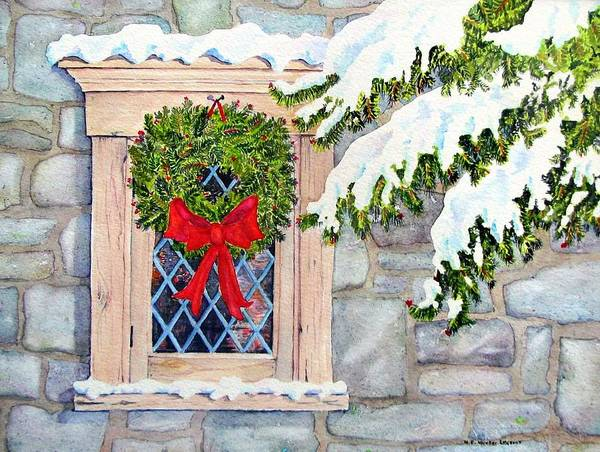 Leaded Glass Painting - Home For The Holidays by Mary Ellen Mueller Legault