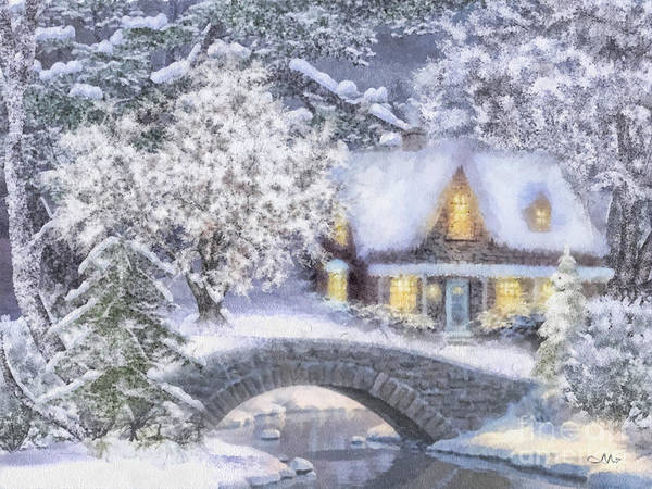 Covered Bridge Painting - Home For The Holidays by Mo T