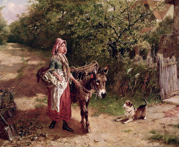 Spade Painting - Home From Market by Edgar Bundy