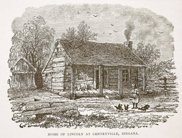 Homestead Drawing - Home Of Lincoln At Gentryville by American School