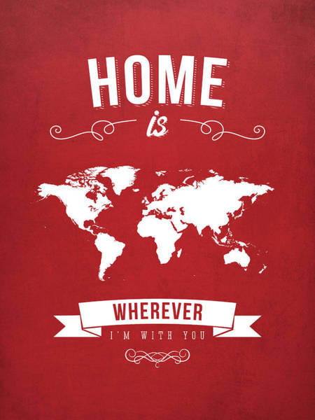 Europe Map Digital Art - Home - Red by Aged Pixel
