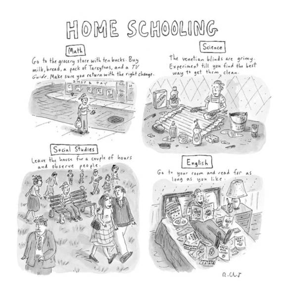 Mathematics Drawing - 'home Schooling' by Roz Chast