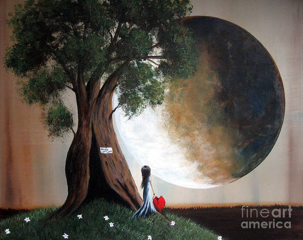 Red Moon Painting - Home Sweet Home By Shawna Erback by Erback Art