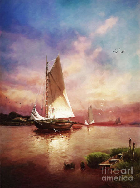 Sailboat Sunset Wall Art - Digital Art - Home To The Harbor by Lianne Schneider