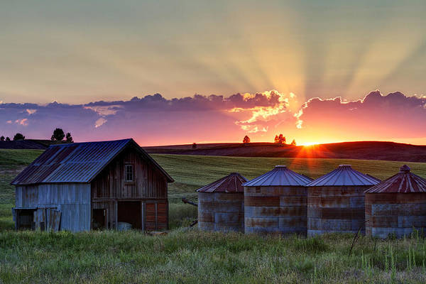 Silo Photograph - Home Town Sunset by Mark Kiver