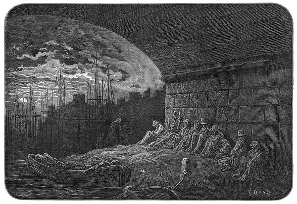 Wall Art - Drawing - Homeless Folk Passing The  Night by Mary Evans Picture Library