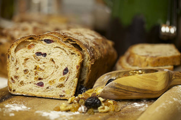 Cinnamon Buns Photograph - Homemade Bread With Raisins Nuts And Cinnamon by Olga Deliieva
