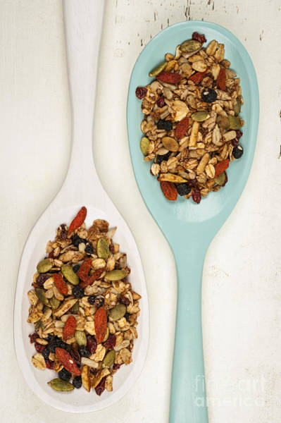 Wall Art - Photograph - Homemade Granola In Spoons by Elena Elisseeva