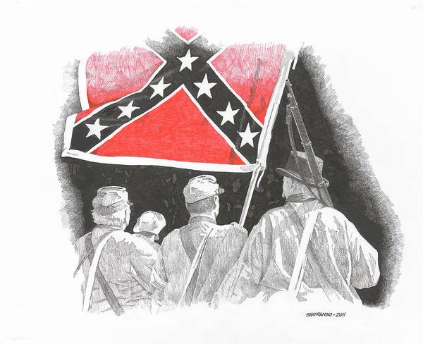 Confederate Soldier Drawing - Homeward Bound by Paul Shafranski