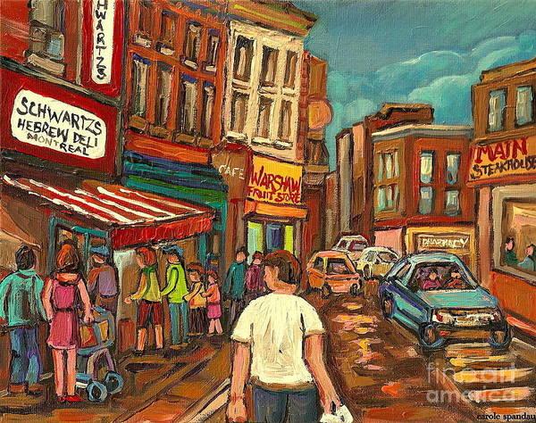 Painting - Warshaw's On The Main Montreal Memories Bargain Fruit Market Street Scene Paintings Cspandau         by Carole Spandau