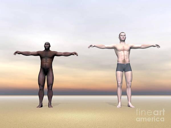 Humanity Digital Art - Homo Erectus Man Next To Modern Human by Elena Duvernay