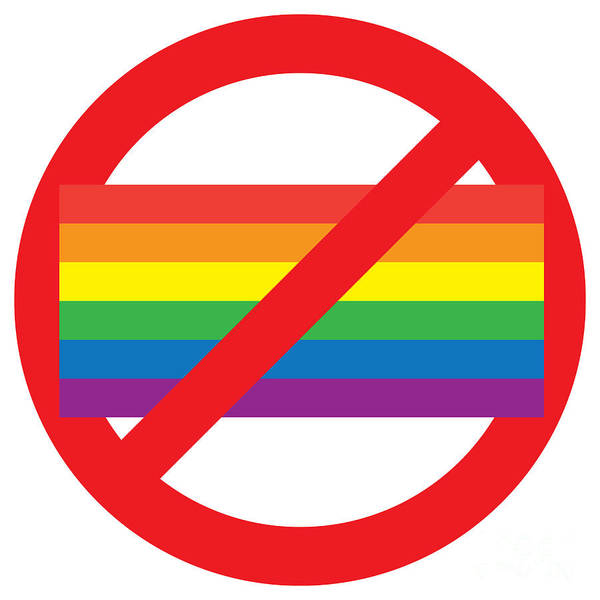 Gay Pride Flag Photograph - Homosexual Forbidden Sign by Aleksey Tugolukov