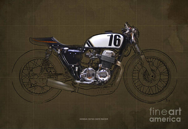Racer Digital Art - Honda Cb750 Cafe Racer by Drawspots Illustrations