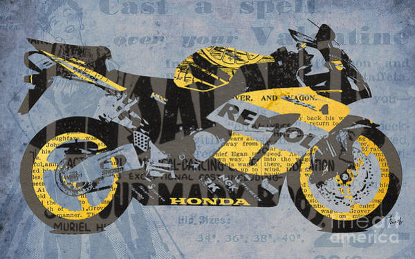 Garage Decor Mixed Media - Honda Cbr1000 - Old Newspaper Cuts by Drawspots Illustrations