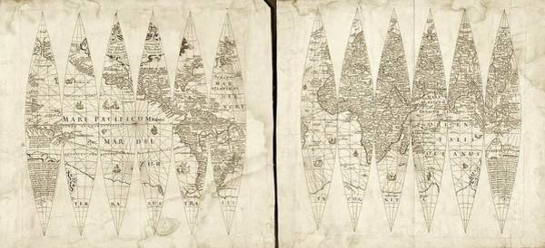 1600s Wall Art - Photograph - Hondius Map Gores by Library Of Congress, Geography And Map Division