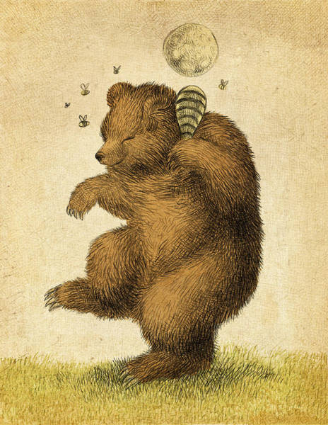 Whimsical Wall Art - Drawing - Honey Bear by Eric Fan