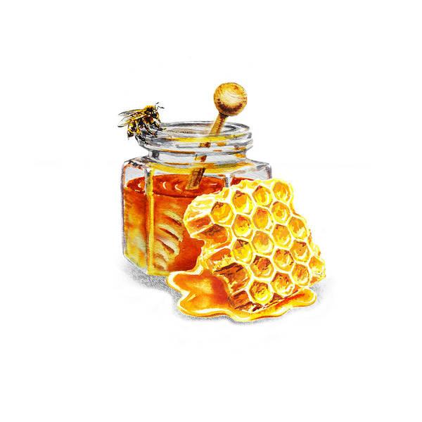 Painting - Honey Jar And Honeycomb by Irina Sztukowski
