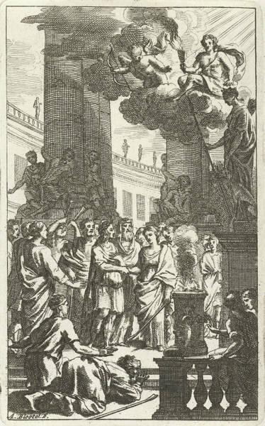 Bystander Drawing - Honey Moon Scene With Priest And Audience by Abraham Bloteling And Zacharias Webber Ii