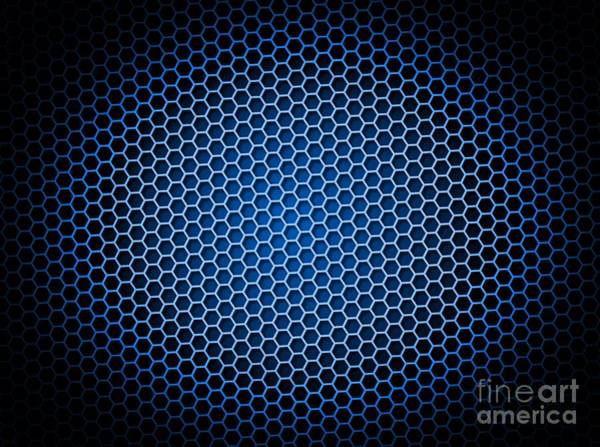 Beehive Digital Art - Honeycomb Background Blue by Henrik Lehnerer