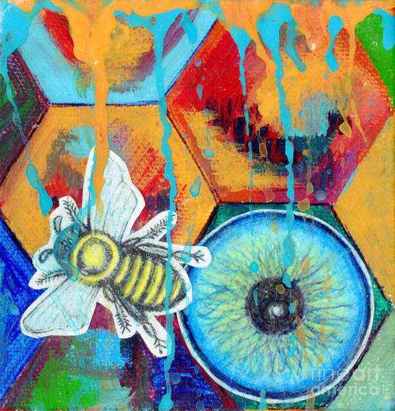 Color Block Mixed Media - Honeycomb Bee by Genevieve Esson