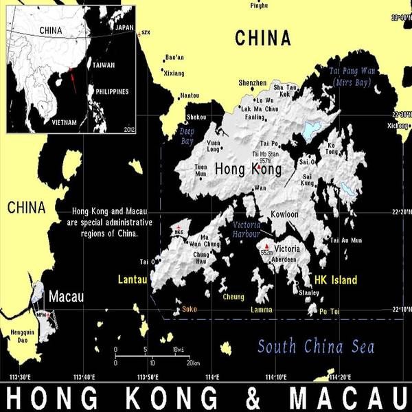 Macau Mixed Media - Hong Kong And Macau Map by Florene Welebny