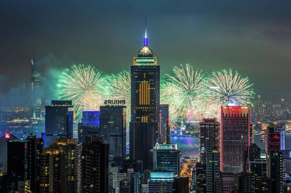 Chinese New Year Photograph - Hong Kong  Chinese New Year Fireworks by Coolbiere Photograph