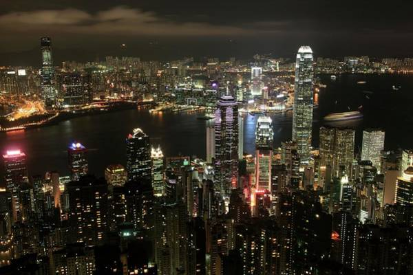 Central Business District Wall Art - Photograph - Hong Kong City And Harbour by Tim Lester/science Photo Library