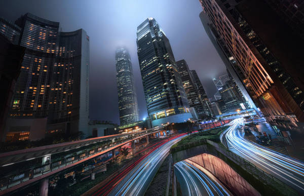 Traffic Photograph - Hong Kong City Lights by Jes?s M. Garc?a