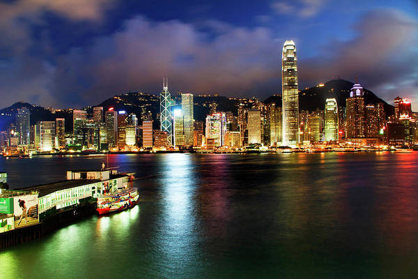 Wall Art - Photograph - Hong Kong Harbor At Night From Kowloon by William Perry
