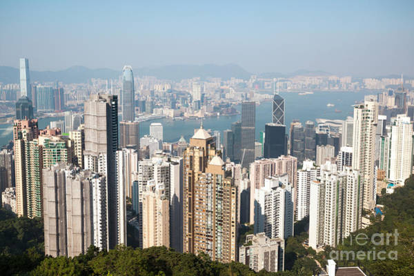 Wall Art - Photograph - Hong Kong Harbor From Victoria Peak In A Sunny Day by Matteo Colombo