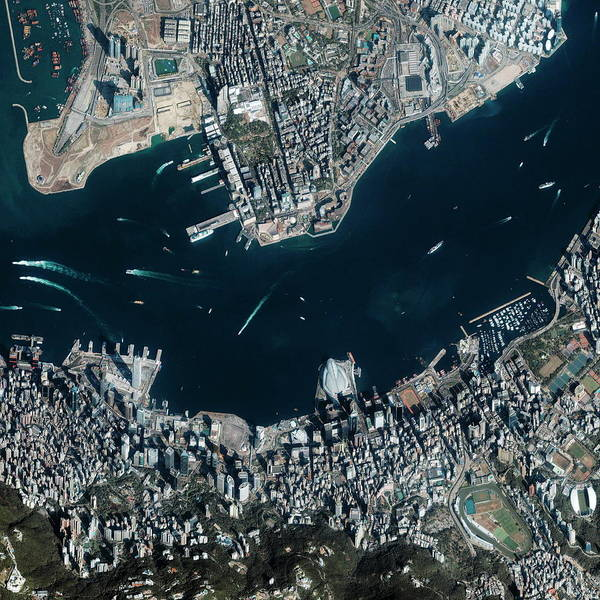 Wall Art - Photograph - Hong Kong Harbour by Geoeye/science Photo Library