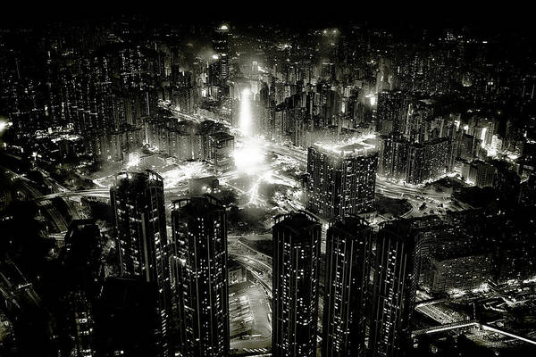 Aerials Photograph - Hong Kong Night by Kenichiro Hagiwara