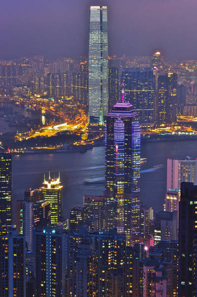 Hong Kong Night View At Victoria Peak Art Print by Hisao Mogi