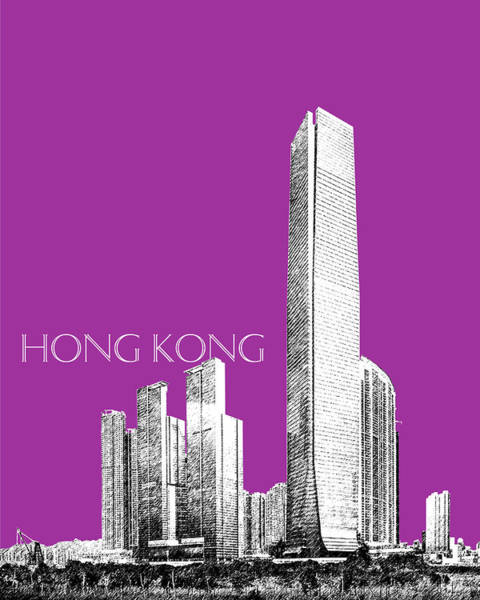 Hong Digital Art - Hong Kong Skyline 2 - Plum by DB Artist