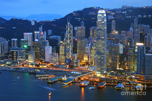 Wall Art - Photograph - Hong Kong Skyline At Night by Lars Ruecker