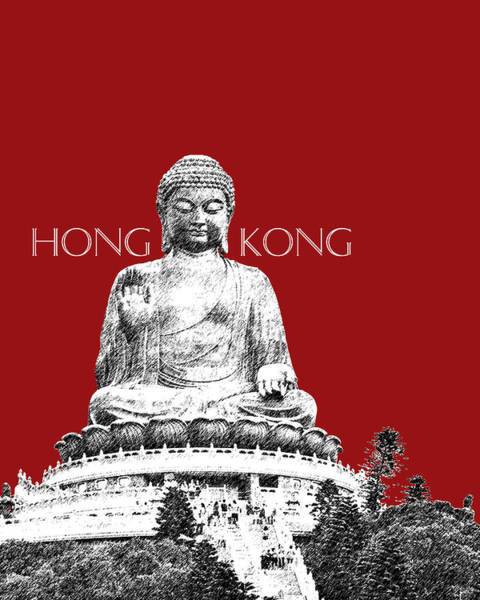 Hong Digital Art - Hong Kong Skyline Tian Tan Buddha - Dark Red by DB Artist