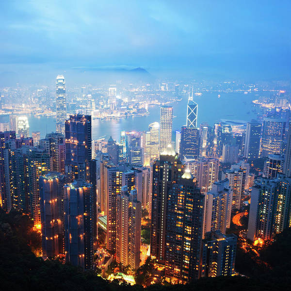 Central Business District Wall Art - Photograph - Hong Kong Skyscrapers At Night by Fzant