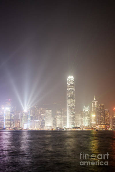 Wall Art - Photograph - Hong Kong Victoria Harbor At Night With Light Show by Matteo Colombo